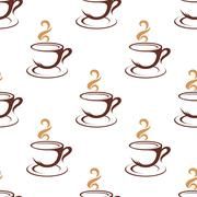 Coffee seamless pattern with cappuccino cups - stock illustration