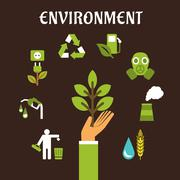 Conservation and environment flat concept - stock illustration