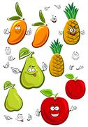 Apple, mango, pineapple and pear fruits characters - stock illustration