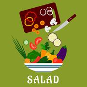 Salad with vegetables and chopping board Stock Illustration