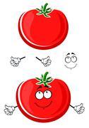 Cartoon ripe juicy red tomato vegetable - stock illustration