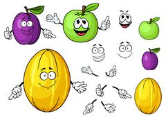 Cartoon juicy green apple, melon and plum fruits Stock Illustration