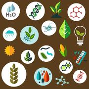 Science and agronomic research flat icons Stock Illustration
