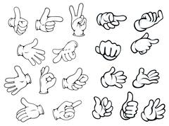 Cartoon hand gestures and pointers Stock Illustration