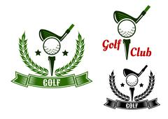 Stock Illustration of Golf club emblems with first stroke from tee