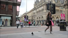 14 June, 2015, Glasgow, Scotland, traffic at the corner of West George Street Stock Footage