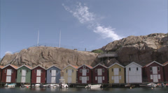 Fishing-huts, Smogen, Bohuslan, Sweden. Stock Footage