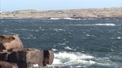 Cliffs and the ocean, Smogen, Bohuslan, Sweden. Stock Footage