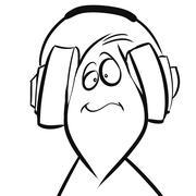 Headphones Liking the Tunes! - stock illustration