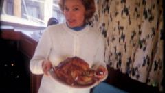 2288 - Turkey dinner for Christmas on a boat - vintage film home movie Stock Footage
