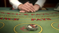 Winning when playing cards at a gambling table. Stock Footage