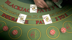 Playing cards at a gambling table. Stock Footage