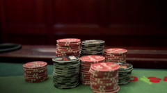 Gambling chips decreasing at a gambling table. Stock Footage