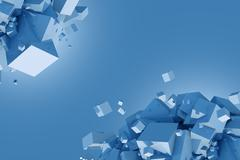 Blue Cubes Concept Illustration with Copy Space Stock Illustration