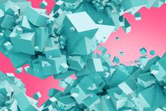Blue Cubes on Pink Background Abstract Stock Illustration