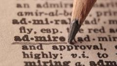 Admire - Fake dictionary definition of the word with pencil underline - stock footage