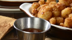 Dipping shrimp in cocktail sauce Stock Footage