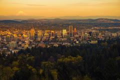 Portland Oregon Sunset Vista. Stock Photos