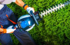 Trimming Time. Gasoline Hedge Trimmer - stock photo