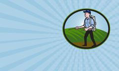 Business card Fertilizer Sprayer Pump Spraying Cartoon Stock Illustration