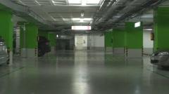 Underground parking garage footage Stock Footage