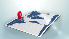 Red pointer on a world map surrounded by blue markers with lens flare Stock Footage
