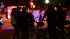 Police watching a crowd Stock Footage