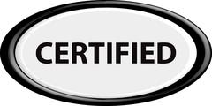 Button certified - stock illustration