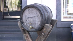 German beer barrel on a wooden stand outside a pub Stock Footage