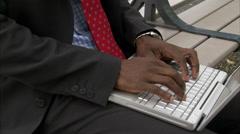 A businessman using a laptop, Stockholm, Sweden. Stock Footage