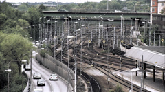 Train and cars, Stockholm, Sweden. Stock Footage