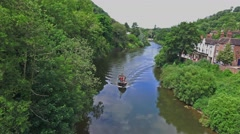 Boat sailing on river Stock Footage