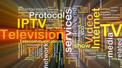 Internet protocol television IPTV background concept glowing Stock Illustration