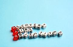 RTO Recovery Time Objectives cubes - stock photo