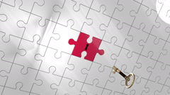 Stock Video Footage of Key unlocking piece of puzzle showing Opportunity