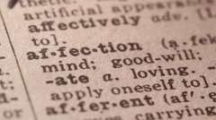 Affection - Fake dictionary definition of the word with pencil underline - stock footage