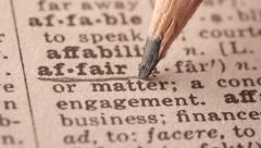 Stock Video Footage of Affair - Fake dictionary definition of the word with pencil underline