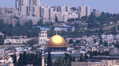 Urban landscape view of Jerusalem and The Dome of the Rockin Israel Stock Footage