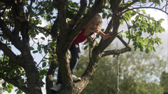 Girl climbing a tree, Sweden. Stock Footage