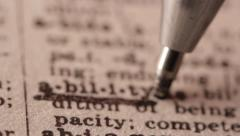 Ability - Fake dictionary definition of the word with pencil underline Stock Footage
