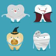 Stock Vector Illustration: Halloween concept of teeth set - stock illustration
