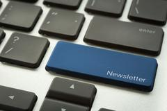 Stock Photo of Computer keyboard with typographic NEWSLETTER button