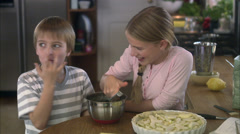 Brother and sister baking, Sweden. Stock Footage