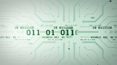 Binary Data Streams Green Lite Stock Footage
