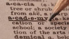 Academy - Fake dictionary definition of the word with pencil underline Stock Footage