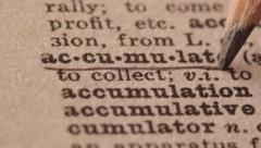 Accumulate - Fake dictionary definition of the word with pencil underline Stock Footage
