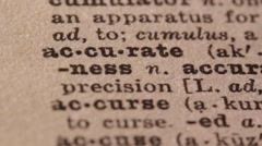 Stock Video Footage of Accurate - Fake dictionary definition of the word with pencil underline