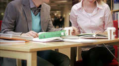 Students studying in a library, Sweden. Stock Footage