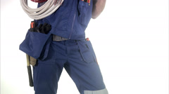 Portrait of an electrician. Stock Footage