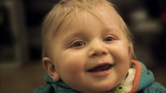 A smiling baby boy, Sweden. Stock Footage